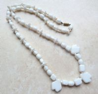 Vintage White Milk Glass Necklace